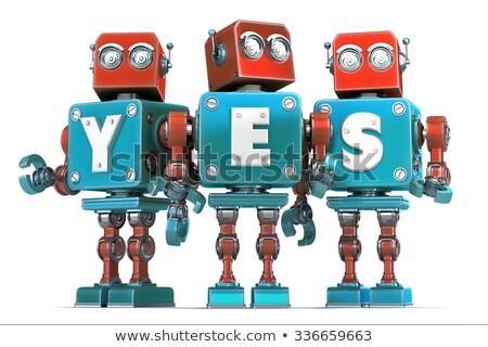 Groep robots ja teken geïsoleerd Stockfoto © Kirill_M