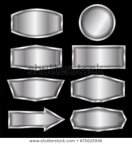 üres acél pajzs fém kitűző izolált Stock fotó © orensila