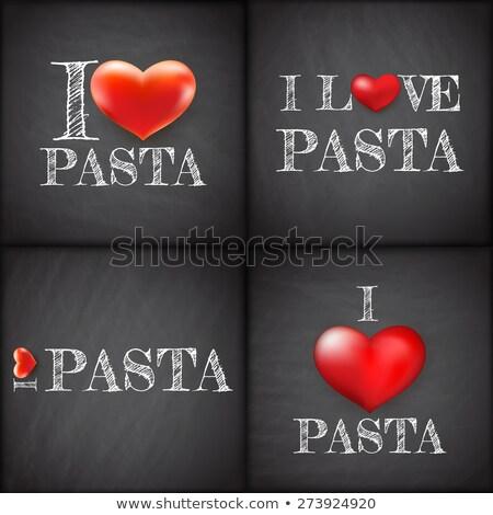 i love pasta set handwritten eps 10 stock photo © beholdereye