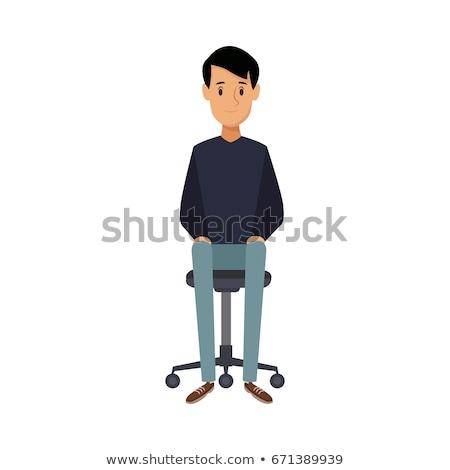 沈痛 ビジネスマン 座って 事務椅子 思考 黒 ストックフォト © deandrobot