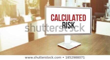 kockázat · fából · készült · asztal · Euro · jegyzet · papír - stock fotó © fuzzbones0