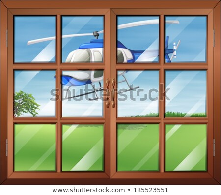 A closed window with a helicopter outside Stock photo © bluering