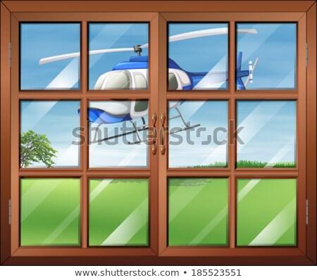 закрыто окна вертолета за пределами иллюстрация служба Сток-фото © bluering