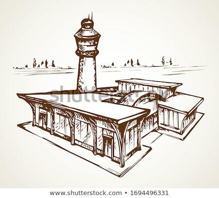 аэропорту ВПП эскиз икона вектора изолированный Сток-фото © RAStudio