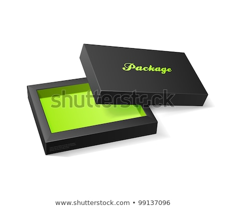 Stockfoto: Zwarte · groene · dozen · abstract · puzzel · kleur
