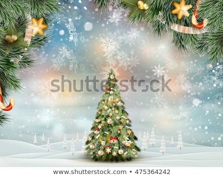 mavi · kış · köy · manzara · ev · Noel - stok fotoğraf © beholdereye