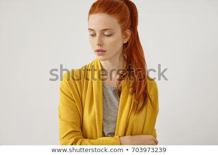 Vörös hajú nő nő visel izolált fehér szépség Stock fotó © sapegina