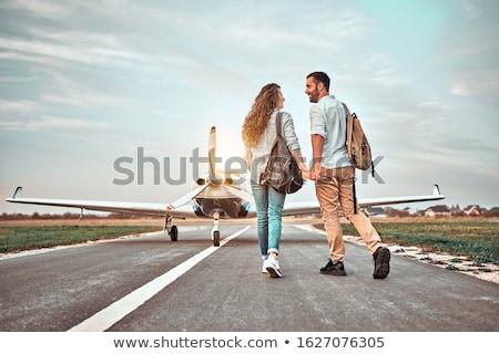 посадка · плоскости · закат · землю · аэропорту · бит - Сток-фото © oleksandro
