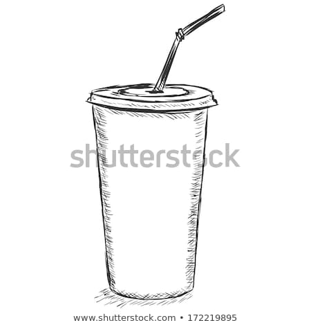 Stockfoto: Beschikbaar · beker · drinken · stro · schets · icon