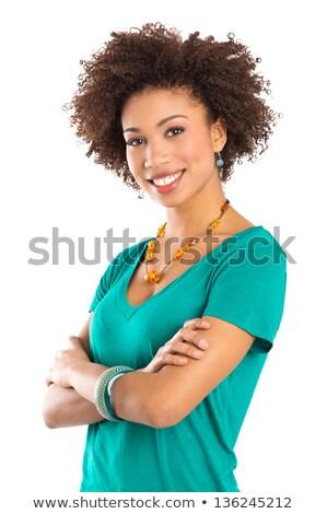 Portre güzel memnun afro amerikan Stok fotoğraf © deandrobot
