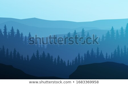 水平な 実例 黄昏 森林 丘 午前 ストックフォト © Vertyr