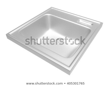 Stock photo: Kitchen sink with dirty kitchenware and dishes. 3D illustration