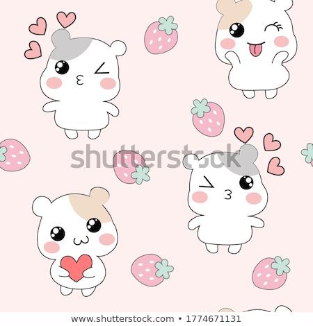 Naadloos cute achtergrond kunst dier tekening Stockfoto © bluering