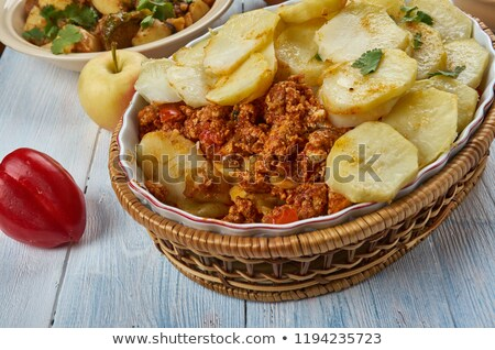 Stock fotó: Ropogós · krumpli · disznóhús · hús · tojások · sült