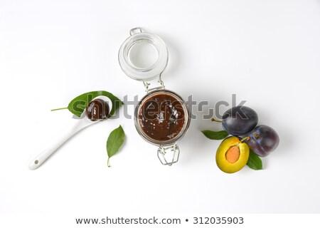 kavanoz · erik · tereyağı · taze · erik · kaşık - stok fotoğraf © digifoodstock