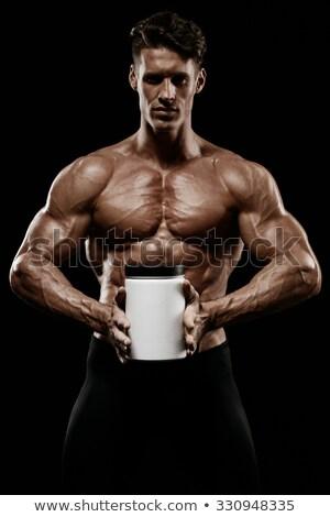 Gespierd man eiwit witte fitness gezondheid Stockfoto © Elnur