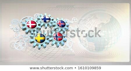 Engrenagem roda bandeira 3D construção Foto stock © drizzd