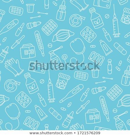Firka tabletták hólyag üveg ikon kék Stock fotó © pakete