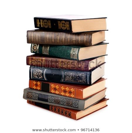 Foto stock: Velho · livros · isolado · branco · grande