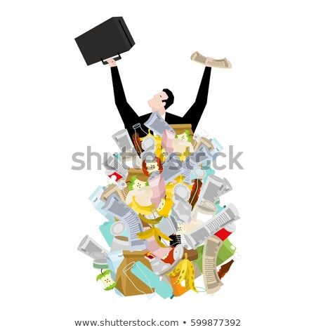 Businessman in garbage heap. Boss in Pile Rubbish. Waste managem Stock photo © MaryValery