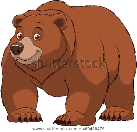cute smiling grizzly bear cartoon illustration stock photo © vectorikart