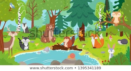 Cute smiling hedgehog kids cartoon illustration Stock photo © vectorikart