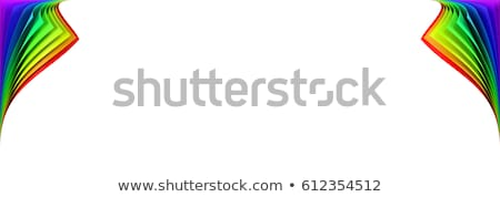 blank banner mockup with rainbow colored curled corner stock photo © pakete