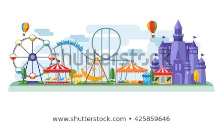 Stile illustrazione parco di divertimenti ragazzi vettore notte Foto d'archivio © curiosity