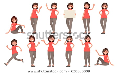 Businesswoman showing thumbs up vector flat cartoon illustration stock photo © NikoDzhi