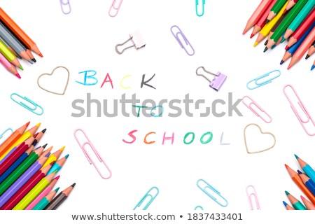 Különböző tanszerek fehér közelkép ceruza művészet Stock fotó © wavebreak_media