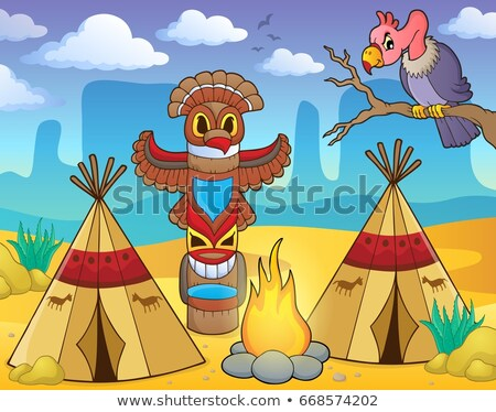 Two american natives at the campsite Stock photo © bluering