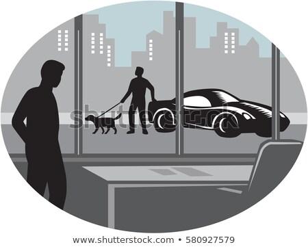 kutya · néz · autó · ablak · fej · nagy - stock fotó © patrimonio