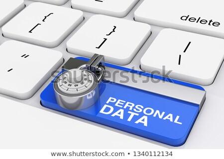 Seguridad base de datos primer plano teclado 3D metálico Foto stock © tashatuvango
