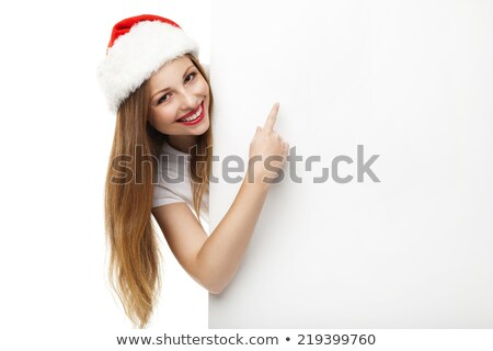 femme · pointant · belle · souriant · Noël - photo stock © julenochek