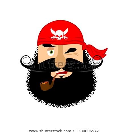 pirate winking emoji head filibuster gladl emotion face buccan stock photo © popaukropa