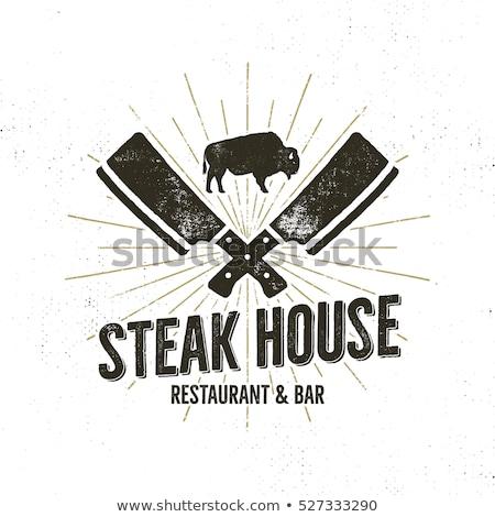 Bistecca casa vintage etichetta tipografia Foto d'archivio © JeksonGraphics
