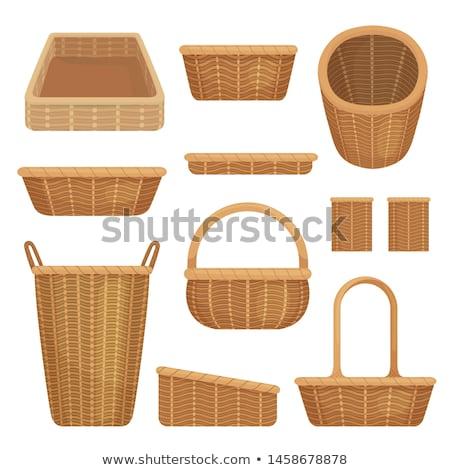 Wiklina koszyka mały biały drewna worek Zdjęcia stock © SRNR