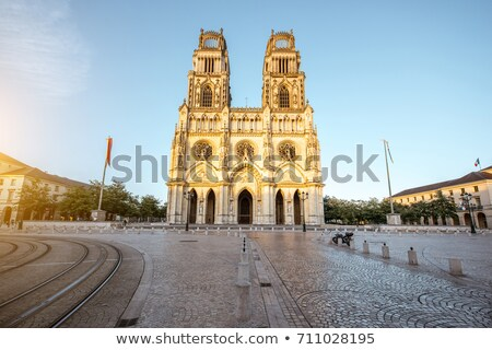 Sunset by Cathedral Sainte-Croix in Orleans Stock photo © benkrut
