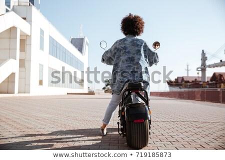 мотоцикл · девушки · сидящий · улице · велосипедов - Сток-фото © deandrobot