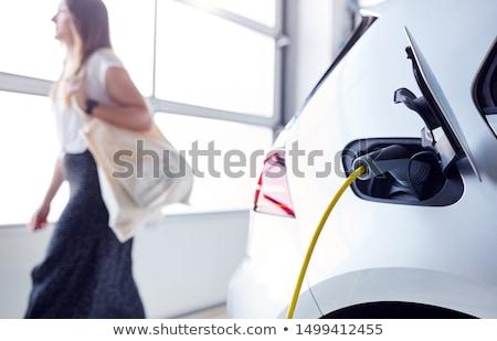 Elektrische kabel bevestigd elektrische auto energie kleur Stockfoto © IS2