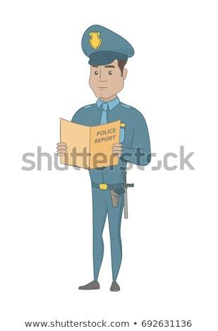 polícia · de · mãos · dadas · policial · regular · menina · criança - foto stock © rastudio