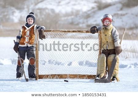 Сток-фото: два · молодые · мальчики · ворот · стены