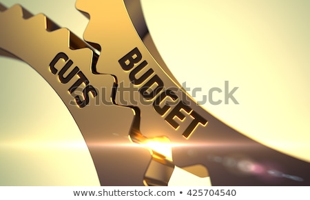 Budget Cuts on Golden Metallic Cogwheels. Stock photo © tashatuvango