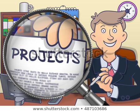 team management through magnifier doodle design stock photo © tashatuvango