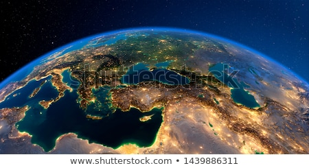 greece in red from space at night stock photo © harlekino