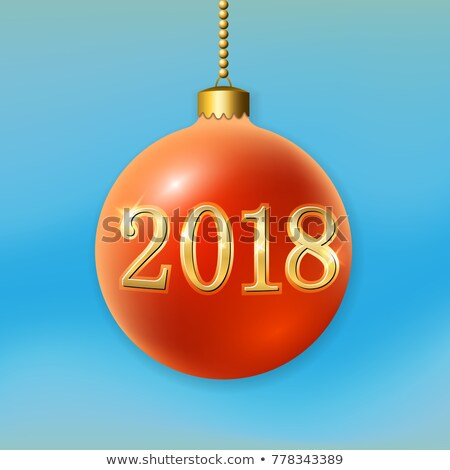 Vector Happy New Year 2018 Illustration on Shiny Red Background with 3d Number, Glass Ball and Light Stock photo © articular