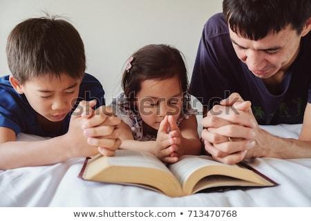 Kid Boy Prayer Dad Stock photo © lenm