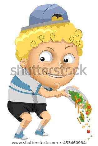 Kid Boy Throw Veggies Stock photo © lenm