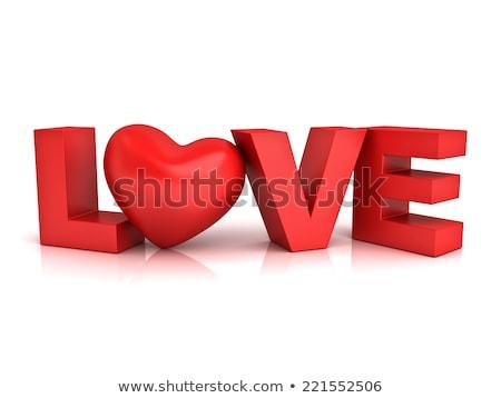 Сток-фото: слово · любви · отражение · 3D · счастливым
