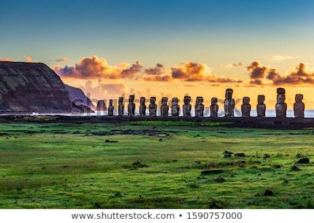 Vulkán Húsvét-szigetek Chile húsvét természet kék Stock fotó © daboost